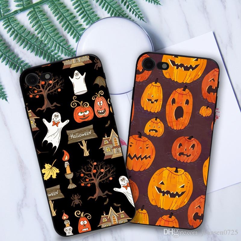 For iphone X 7 Plus 6S iphone 5S cases Anti shock Soft Happy Halloween Day TPU PC painting back silicone phone cover shell 2017 hot sale