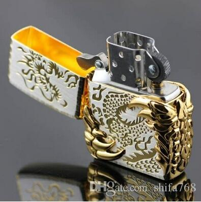 Metal cigarette kerosene windproof lighters Black ice gold gilded dragons