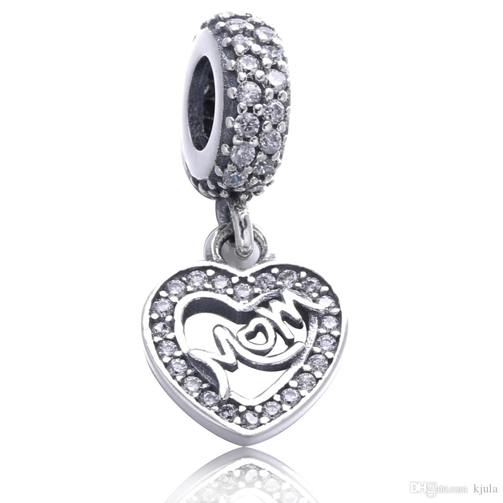 e218c4016 2019 Centre Of My Heart Hanging Charm Silver Charm Mom Gift With Clear  Zircon Fit Pandora Bracelet From Kjula, $15.23 | DHgate.Com