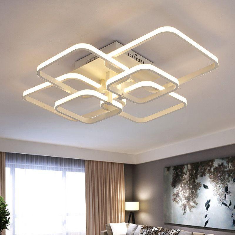 Modernas luces de techo LED para sala de estar dormitorio comedor  Rectángulo Acrílico LED Lamparas de techo Lámpara de techo blanca Accesorios