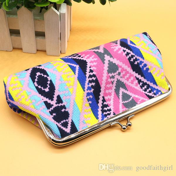 Hot selling stripe canvas wallet coin purse key holder hasp small coin change gifts bag clutch xmas present handbag cell phone case