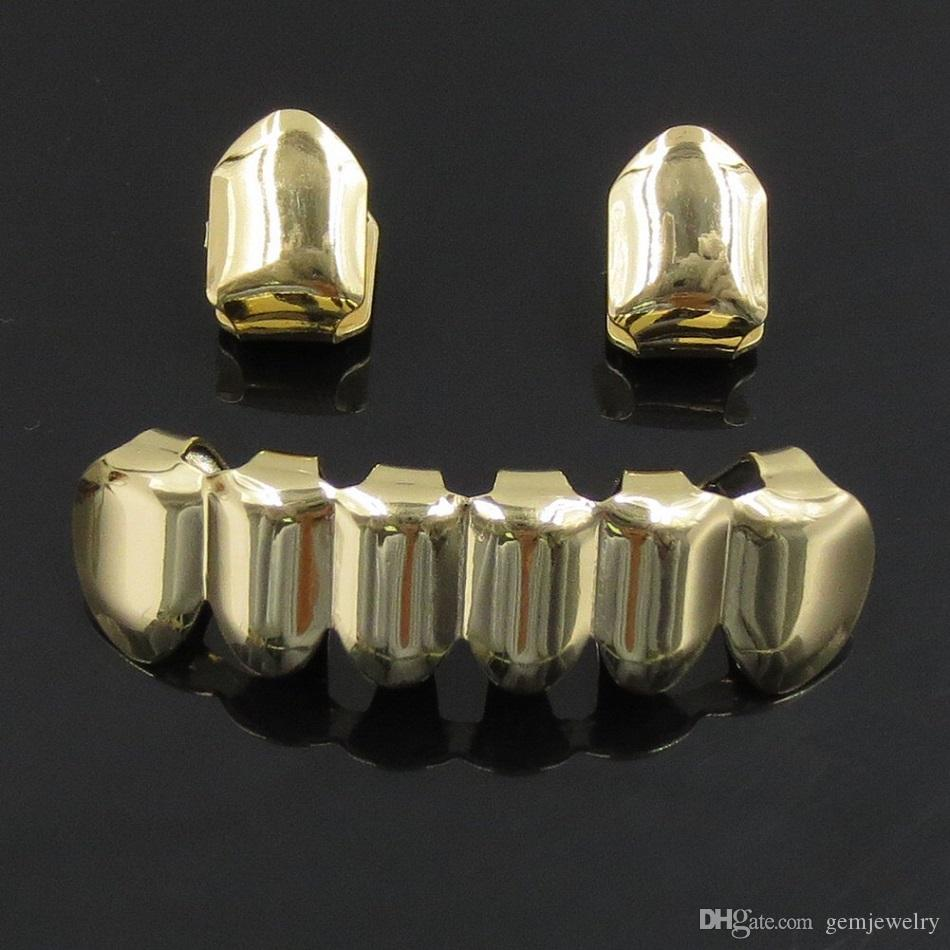Hip Hop Rose Plated Custom Mouth Grillz Set Single Top & 6 teeth Bottom set gold grills