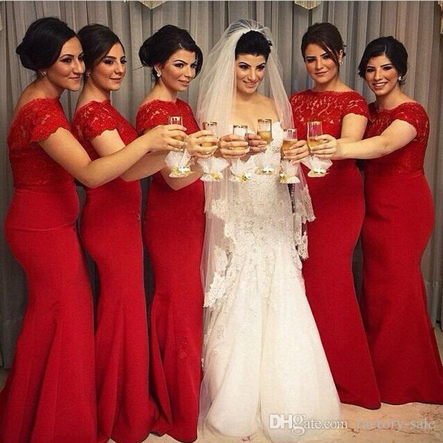 Elegant Red Long Mermaid Bridesmaid Dresses 2017 Cap Sleeves Jewel ...