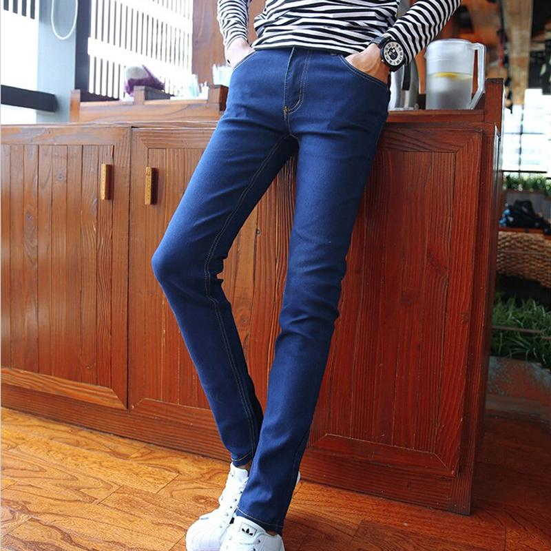 7058b4576e5 2019 Wholesale Mens Elastic Pencil Pants Long Slim Fit Autumn Korean Style  Teenagers Denim Jeans Cowboy Feet Pants Fashion Low Waist K08 From  Edmund02