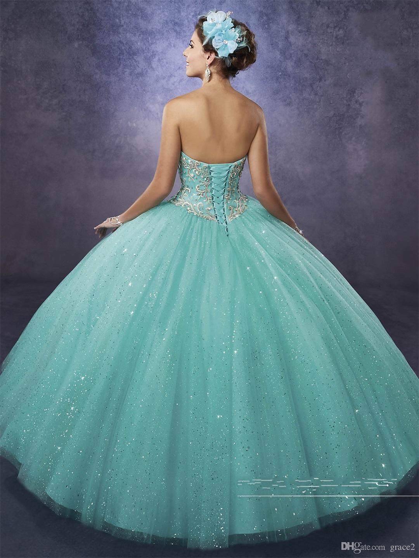 vestidos de 15 anos with Free Bolero and Sweetheart Neckline Aqua Quinceanera Dresses 2017 Princess in Sparkling Tulle Custom Made