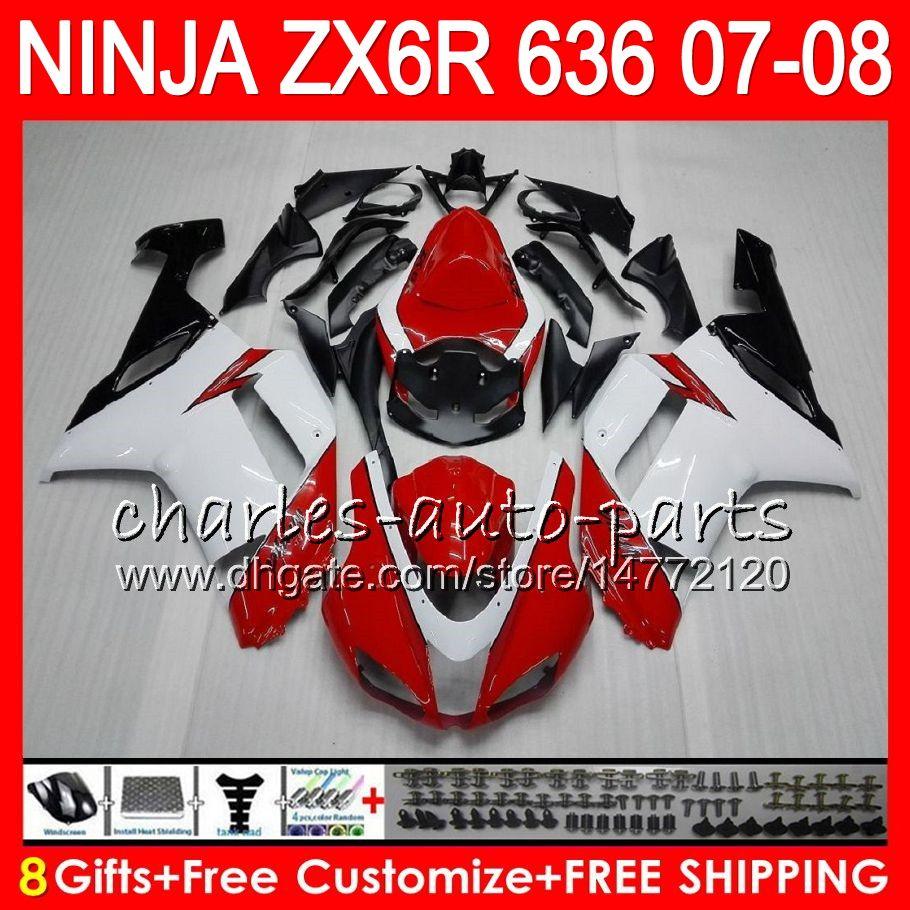 8Gifts Bodywork For KAWASAKI NINJA ZX636 ZX6R 07 08 600CC 26HM21 white red ZX 636 ZX 6R 07-08 ZX-636 ZX-6R 2007 2008 Fairing kit