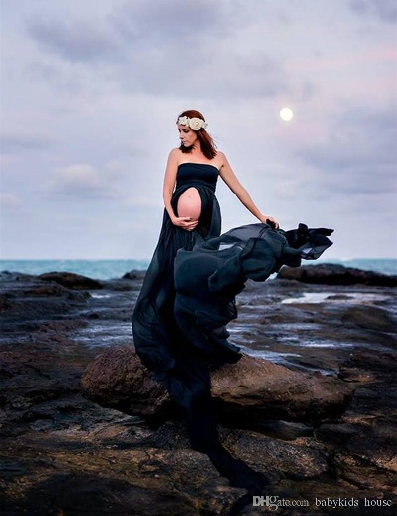 Vente chaude Maternité Robe En Mousseline De Soie Split Front Maxi Photographie Grossesse Robe Pour Séance Photo