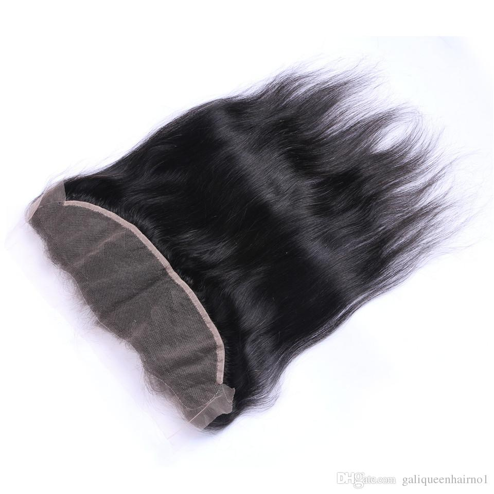 Бразильские прямые волосы 13x4 ухо до уха предварительно сорванные кружева лобное закрытие с младенческими волосами Remy человеческие волосы свободно