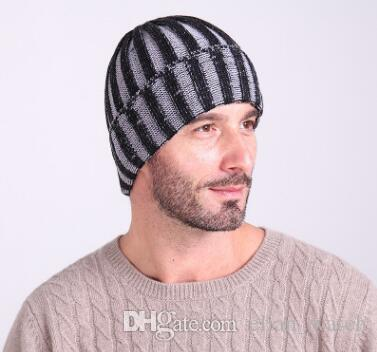 557b5b3deb3 New Recommend Men Fashion Winter Double Color Striped Wool Caps ...