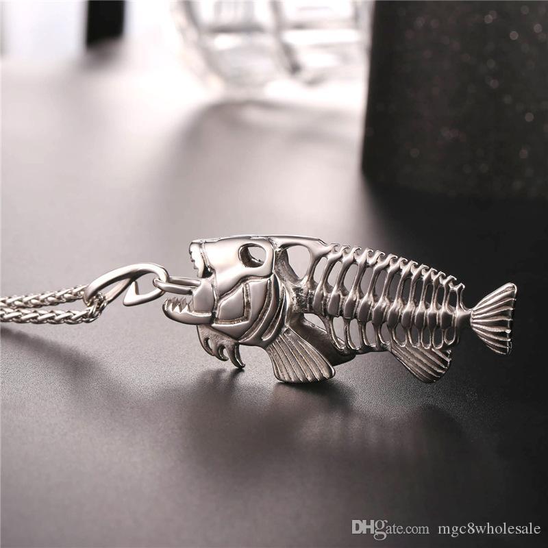 U7 New Big Fish Pone Pendentif Colliers avec crochet de pêche En Acier Inoxydable / Or / Pistolet Noir Plaqué Hommes Punk Biker Bijoux Cadeaux Parfaits GP2457