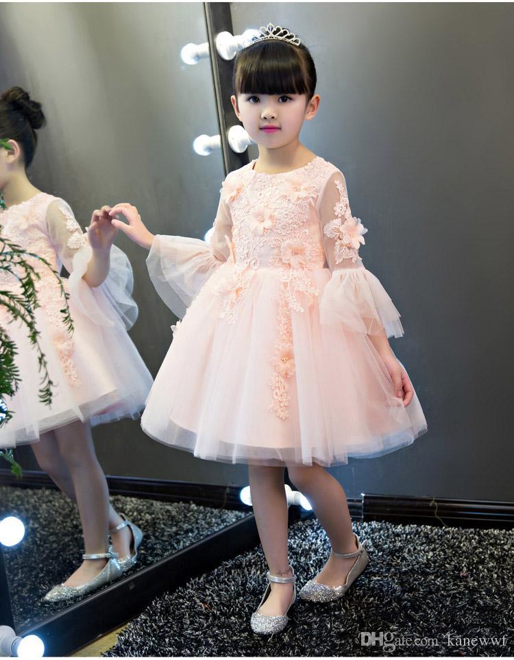 Squisita pizzo Appliques Flower Girl Girl Dress da sposa Rosa Tulle Caviglia Lunghezza Bambini Party Prom Gress Primo Abiti da Comunione 1-12T