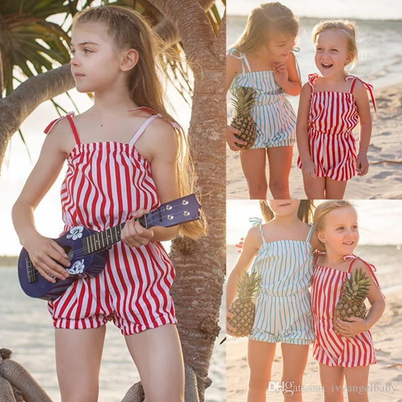 59ab197a7c Strip Girls SUmmer Clohtes Romper Holiday Beach Sleeveless Cute Children  Clothing Girl Costume Rompers Jumpsuit Playsuit 2-7Y Summer Jumpsuit Girls  Jumpsuit ...
