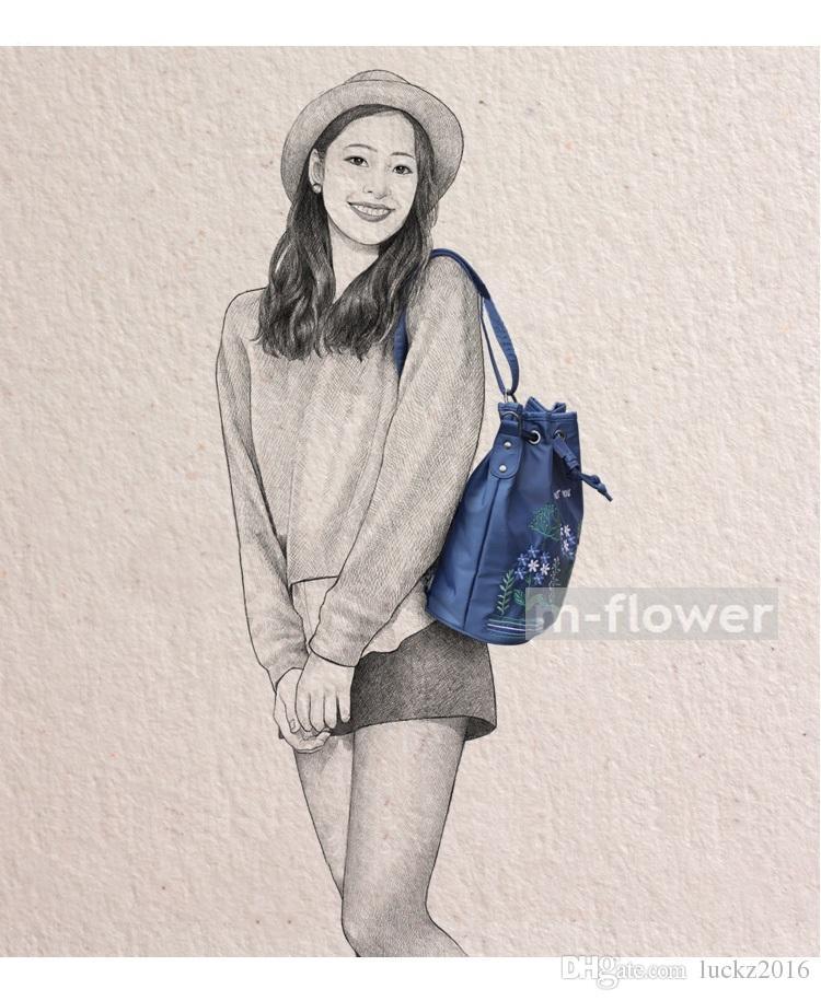 Fresh Little Flowers Stitchwork Literary Japan South Korea Style Oxford Women's Single Shoulder Backpack Bag Drawstring Female Daily