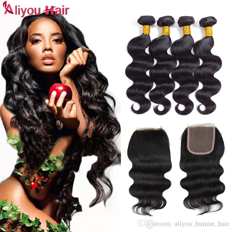New Arrival Brazilian Body Wave Human Hair Weaves Extensions 4 Bundles with Closure Natural Color Free Middle Part Double Weft Dyeable