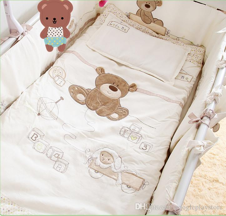 4fb47ad315b Cotton Baby Cot Bedding Set Newborn Cartoon Bear Crib Bedding Detachable  Quilt Pillow Bumpers Sheet Bed Baby Bedding Sets Child Comforter Sets Train  Bedding ...
