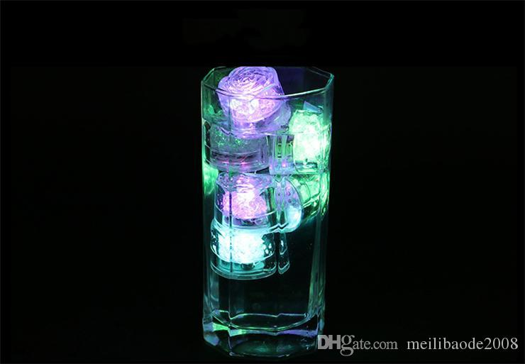 LED Light Ice Cubes Flash Liquid Sensor Water Submersible LED Bar Light Up for Club Wedding Party Champagne Tower Christmas Decoration