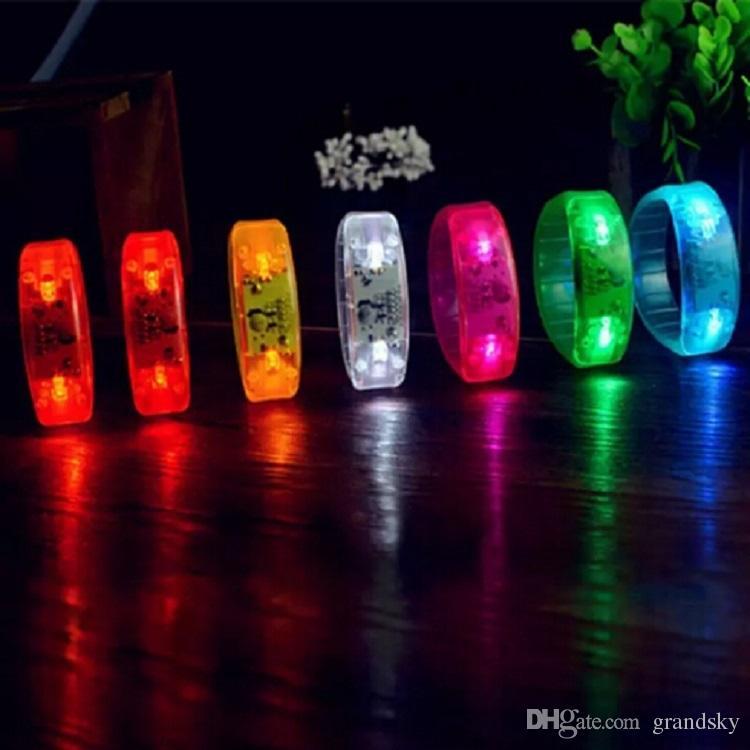 Newest LED Voice-control Bracelet Glo-sticks Electronic LED Flashing Bracelet Glow Bracelets LED Wrist Band Christmas Gift