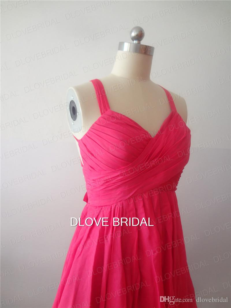 Hot Pink Prom Dress High Low Criss Straps Cross Open Back Pleated Ruched Short Homecoming Dresses Real Photo New Style Cocktail Party Gown