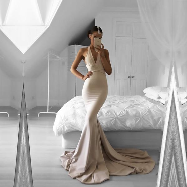 Cheap Halter Long Mermaid Evening Dresses Sexy Sleeveless V Neck Sweep Train Prom Dresses Robe de soriee BA5478