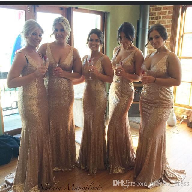 Sparkling Rose Gold Sequins Cheap Trumpet Bridesmaid Dresses Open Back Sexy V Neck Plus Size Sleeveless Maid of Honor Gowns Champagne