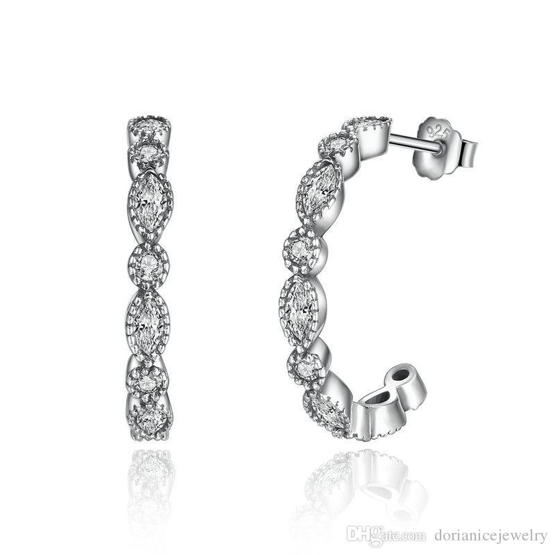Genuine 925 Sterling Silver Alluring Brilliant Marquise Clear CZ Stud Earrings Half-hoop Earrings Women Engagement Jewelry Femme ER075