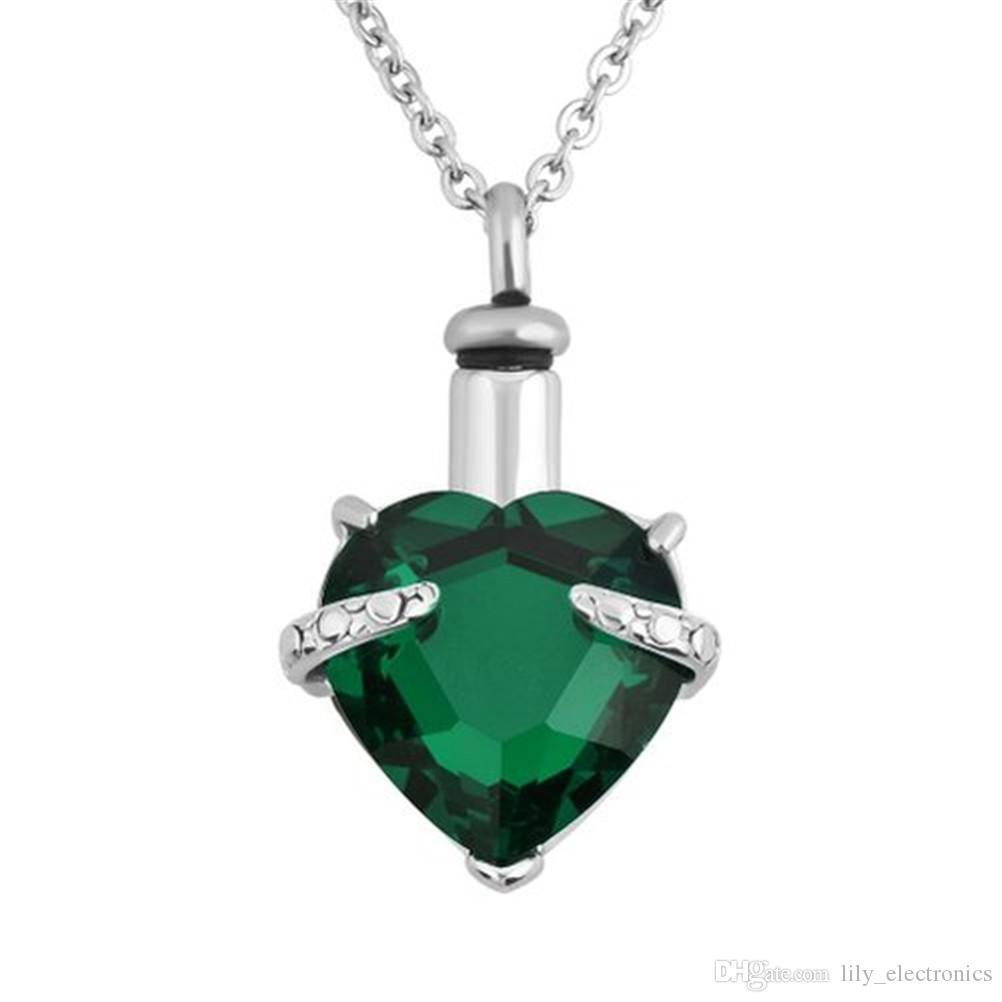 Lily Urn Colliers Diamant Crémation Bijoux Coeur Mémorial Souvenir Cendrier Titulaire Pendentif avec sac cadeau Cinq Couleurs