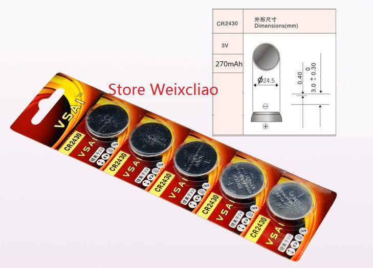 1 CR2430 3V lithium li ion button cell battery CR 2430 3 Volt li-ion coin batteries VSAI
