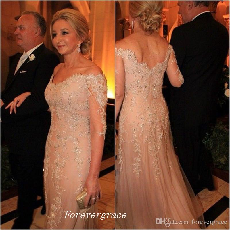 Elegante Champagne Colore Madre della Sposa Abiti Formali madrina Abbigliamento donna Abiti da sera da sera Dress Plus Size