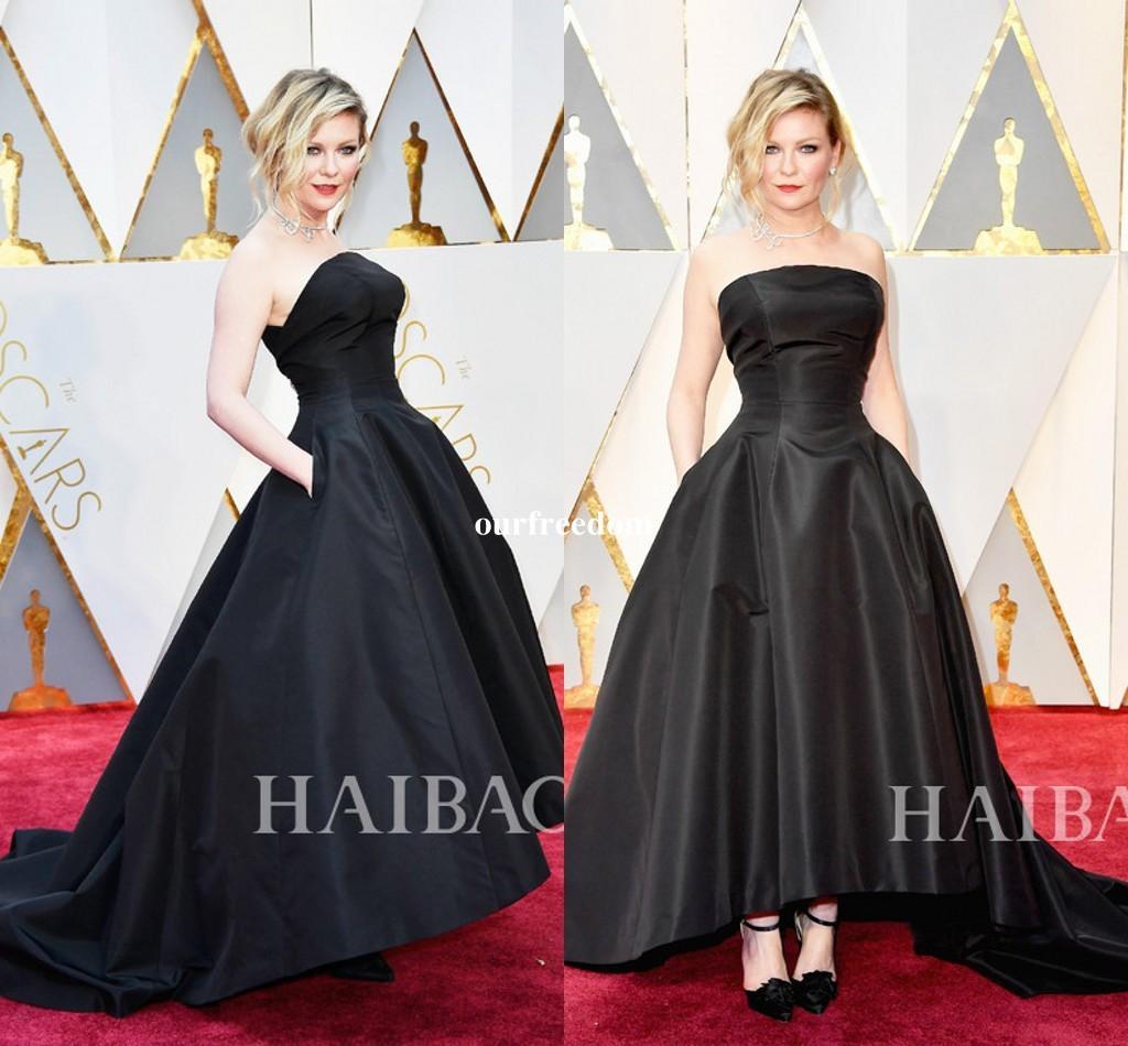 879fc2b9ba9e Acquista Kirsten Dunst Black 89th Oscar 2017 Celebrity Evening Dresses Ball  Gown Senza Spalline Hi Lo Ruffled Dress Prom Formale Abiti Da Festa A   108.55 ...