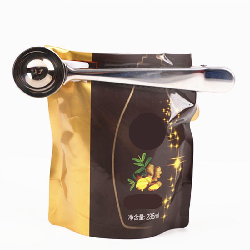 самый дешевый новый многофункциональный ложка из нержавеющей стали с зажимом кофе чай мерный совок 1Cup молотый кофе мерная ложка 7