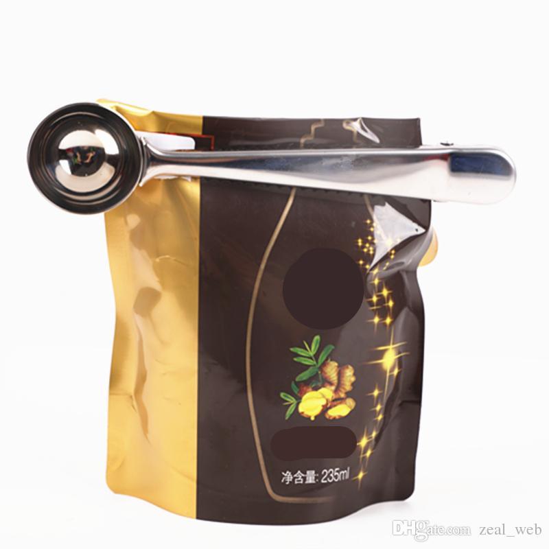 economico nuovo multifunzione in acciaio inox CUCCHIAINO con clip di caffè tè misurino Scoop 1 tazza di caffè macinato cucchiaio di misurazione 7