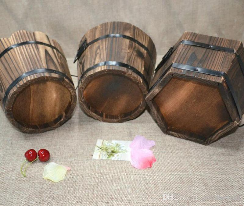 Rustic Small Round Wooden Flower Barrel Flower Pot Planter For Wedding Home Garden Decoration ZA4179