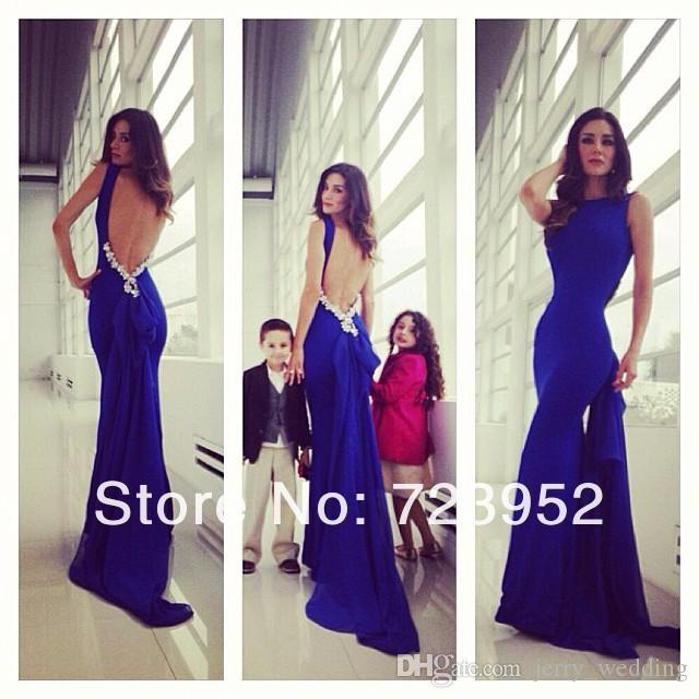 2017 Sexy Backless Mermaid Prom Dresses Open Back Royal Blue ...