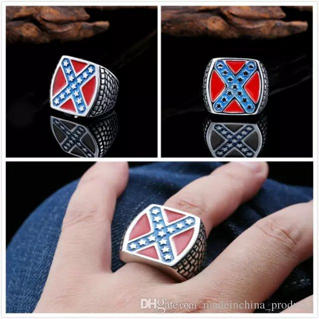 316l Stainless Steel Ring Confederate Rebel Civil War Flag Rings