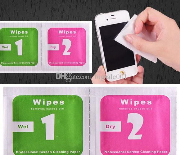 Dry Wipes+Wet Wipes+Dust Absorber Sticker Cleaning Cloth For Tempered Glass Screen Protector Camera LCD