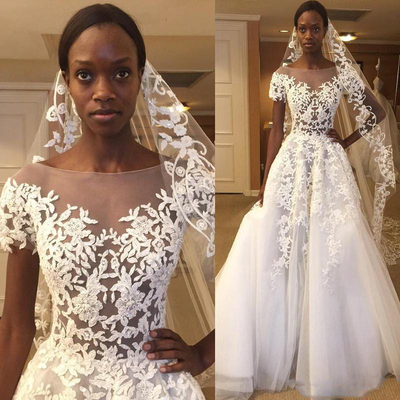 아프리카 깎아 지른 목 웨딩 드레스 2018 레이스 Appiques는 신부 가운을 통해 참조 라인 Tulle 층 길이 결혼식 Vestidos 저렴한