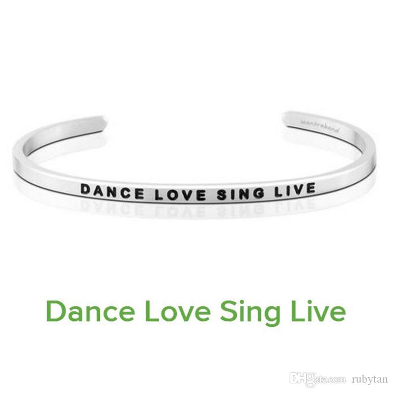 Delicate Silver Cuff Bangle DANCE LOVE SING LIVE Stamped Bracelet Titanium Steel Inspirational Bangle for Women Gift