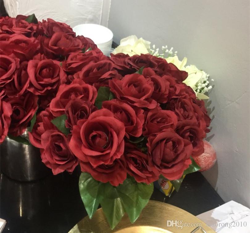 Бургундия роза цветок красный 30 см Цвет вина розы для свадьбы центральные невесты Букет искусственные декоративные цветы