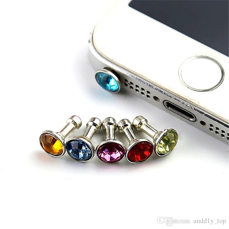 / enchufe anti del polvo del auricular tapones de tope Cap Gadgets Accesorio del teléfono móvil del Rhinestone de 3,5 mm para auriculares Jack