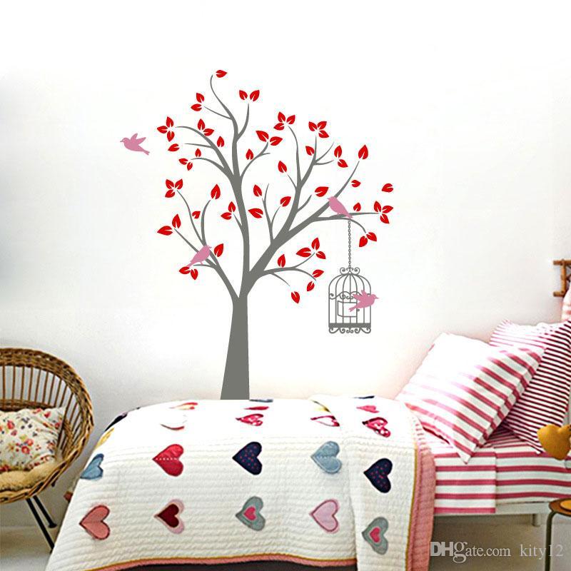 Бесплатная доставка новое прибытие большой красочный дерево стены стикеры детский сад DIY искусства винил Home Decor Mural