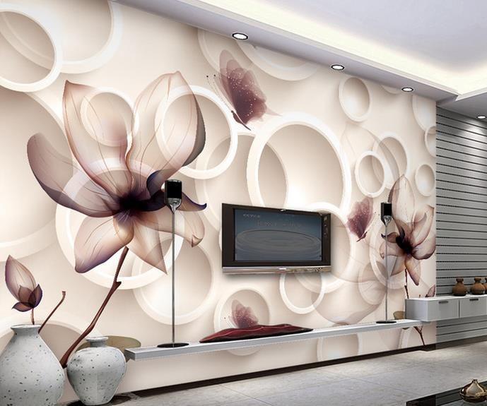 Magnolia flor fundo TV 3D papel de parede murais sala Papel de parede 3 d para sala de estar