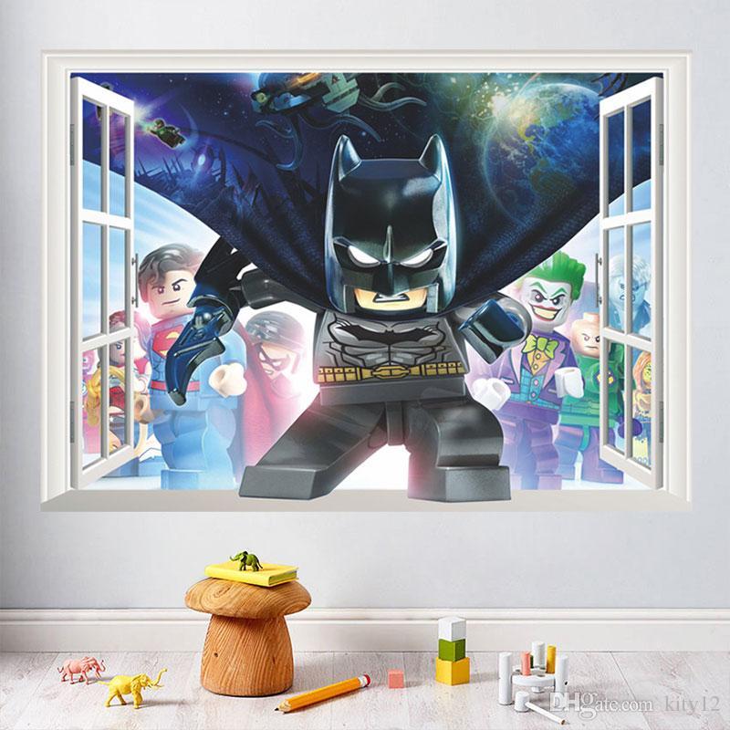 Parede do cubo 3D The Avengers Sticker Home Decor Moda Decalques em parede Criativas PVC Stickers New removível Spiderman Batman para quartos de crianças