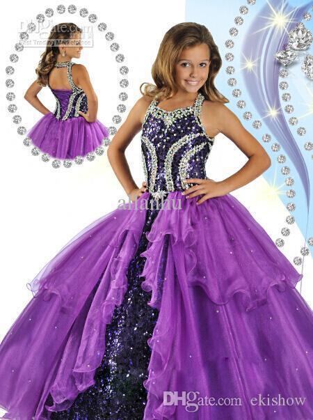 New Luxury Purple Princess Girl's Pageant Dresses 2017 Halter Neck Corset Back Beads Sequins Ball Gown Glitz Kids Prom Dresses