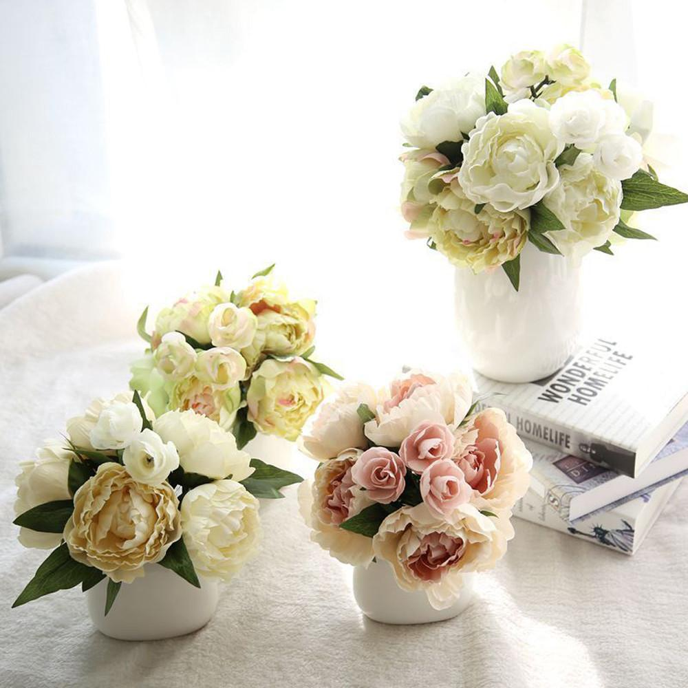 Silk Cloth Peony Bouquet Artificial Fake Flowers Lotus Bouquet