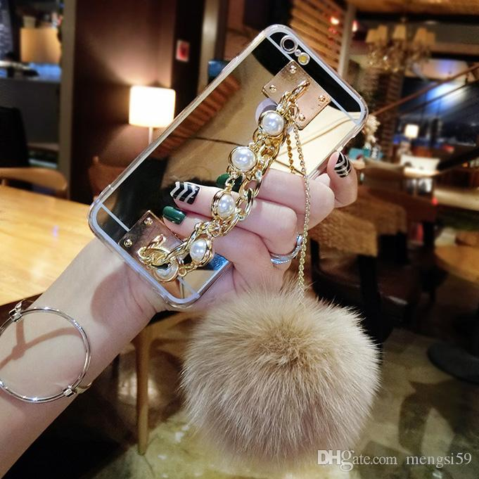 For Samsung galaxy s6 s7 s8 s9 edge plus Luxury Fashion pearl Chain Tassel fox puff pompoms fur ball soft mirror case cover