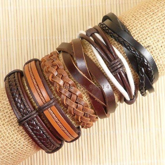 Ручной панк подвески мужчины Braclet для женщин этнических племенной Wrap черный браслет Браслет Femme мужской браслет обруча ювелирные изделия