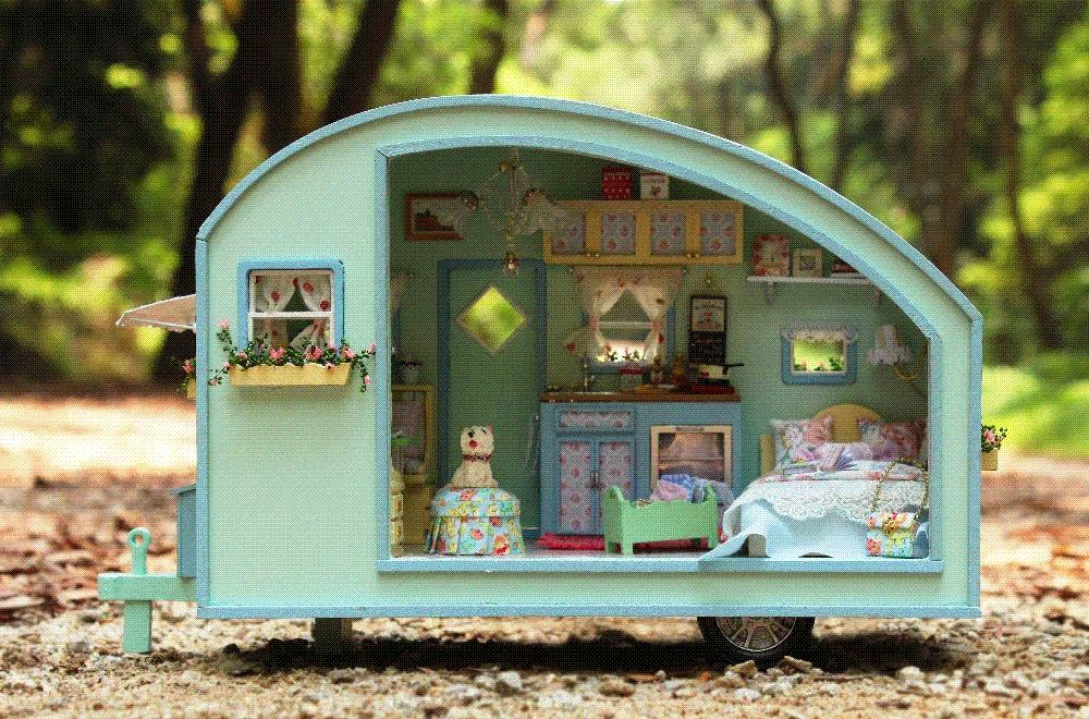 2019 Wooden Dollhouse Miniature Diy House Model Diy Kit Little Rvs