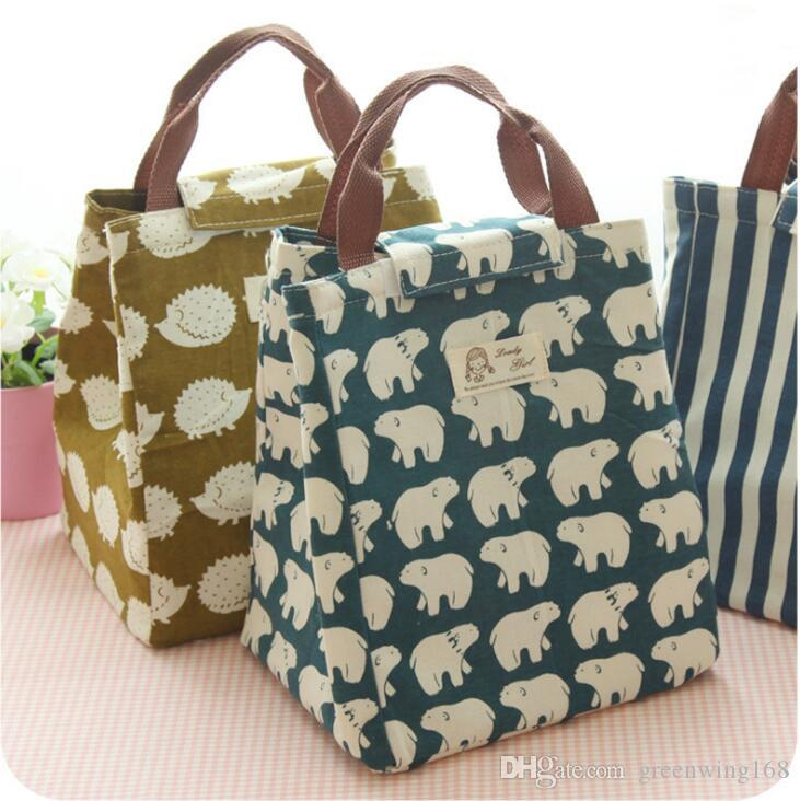 00c83425d059 Portable Bag Cooler Insulated Canvas Lunch Bag Thermal Food Picnic ...