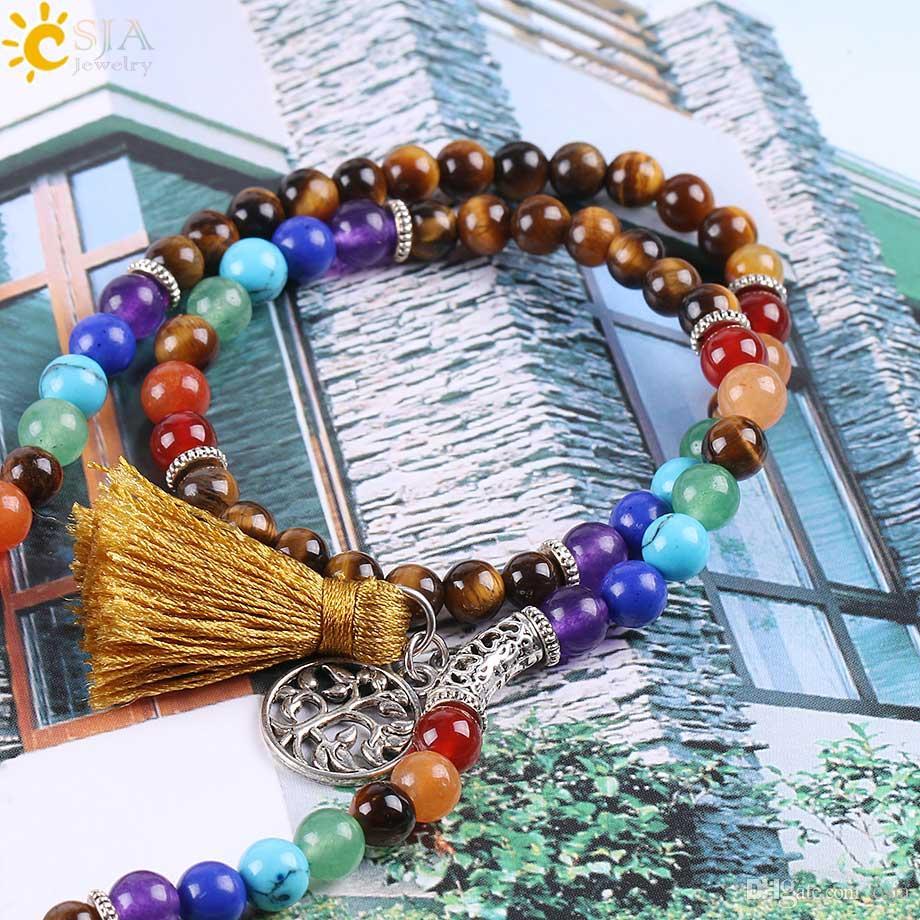CSJA 108 Mala Naturel Pierre Tigre Eye Perles Multicouche Wrap Bracelets 7 Chakra Guérison Mala Méditation Prière Yoga Main Bijoux E662