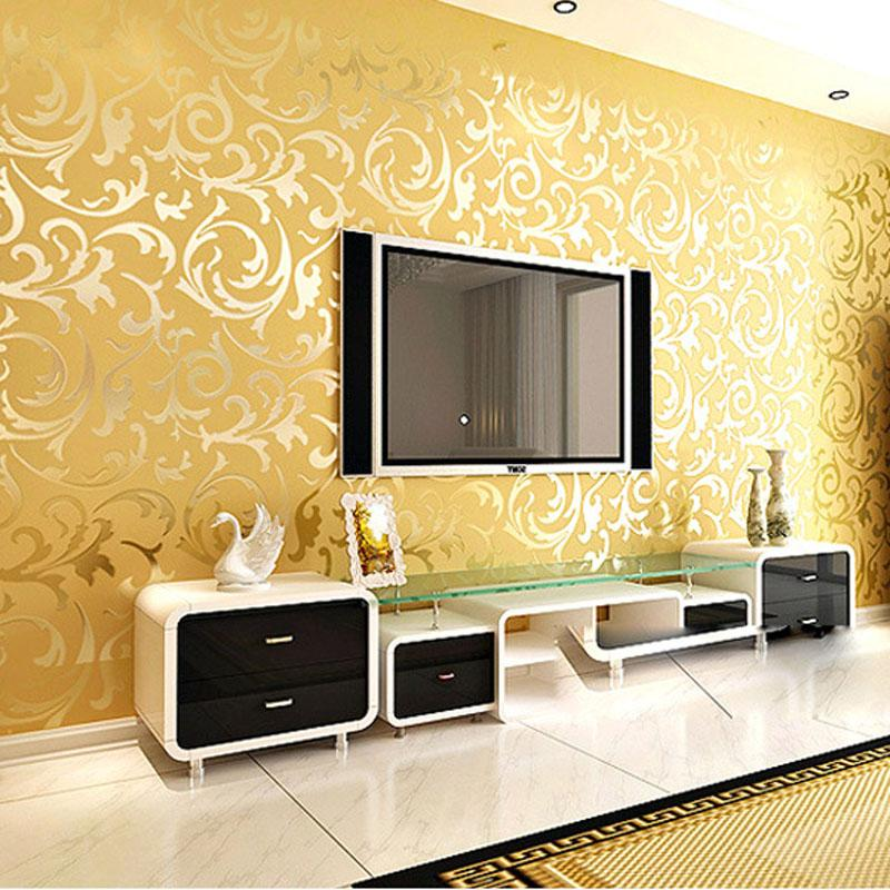 Wholesale High End 10m Luxury Embossed Patten Textured Pvc Wallpaper